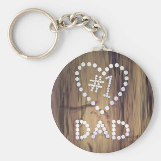 Number One Dad on Wood-look Background Basic Round Button Key Ring