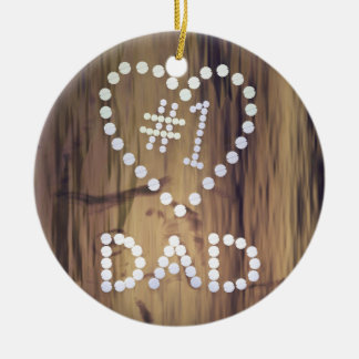 Number One Dad on Wood-look Background Round Ceramic Decoration