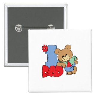 number one dad teddy bear design 15 cm square badge