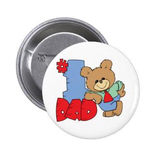 number one dad teddy bear design 6 cm round badge