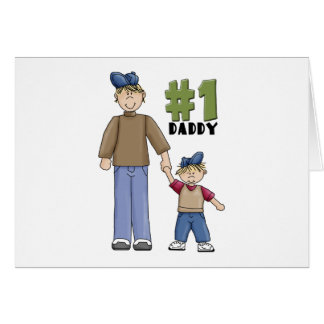 Number One Daddy Blond Boy Greeting Cards