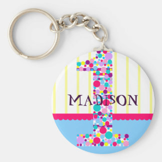 Number  One, First Birthday Celebration Magnet Basic Round Button Key Ring