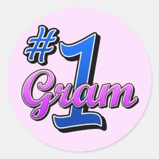 Number One Gram Round Sticker