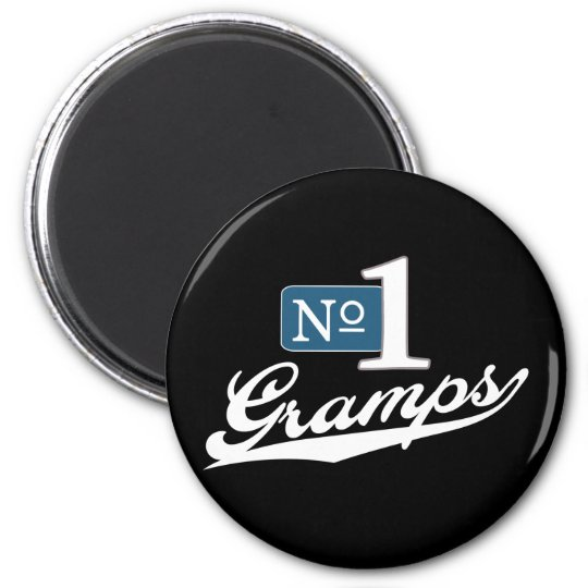 Number One Gramps (White) 6 Cm Round Magnet
