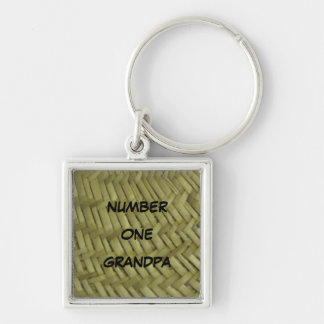 Number One Grandpa items Silver-Colored Square Key Ring