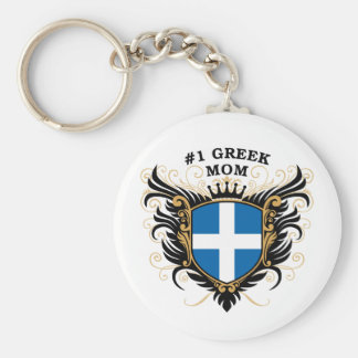 Number One Greek Mom Basic Round Button Key Ring