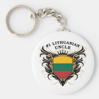 Number One Lithuanian Uncle Basic Round Button Key Ring