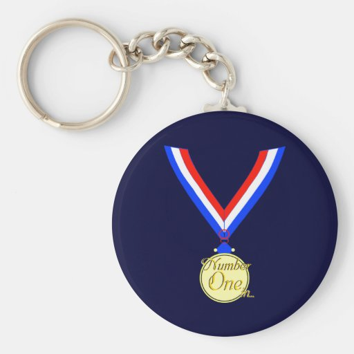 Number one medal winner gold golden keychain