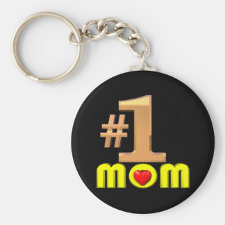 Number One Mom Basic Round Button Key Ring