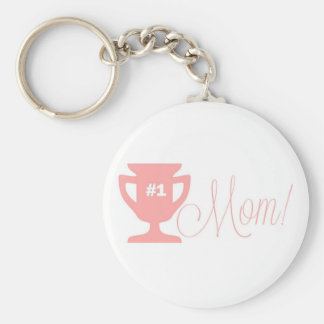 Number One Mother Pink Trophy Keychain Basic Round Button Keychain