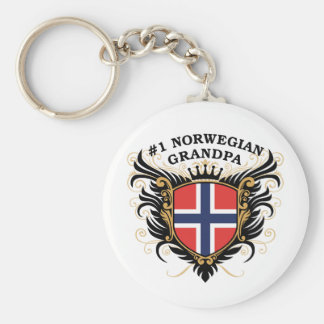 Number One Norwegian Grandpa Basic Round Button Key Ring