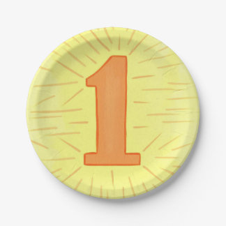 Number One Orange Yellow First Birthday Plates 7 Inch Paper Plate