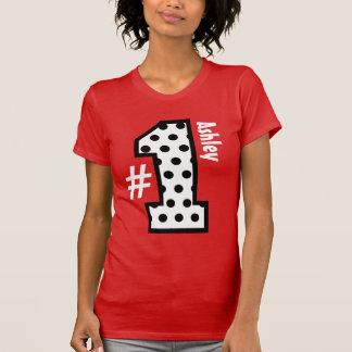 Number One Polka Dots Big Number Custom Name V10 Tee Shirts