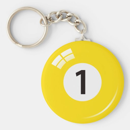 Number one pool ball keychain