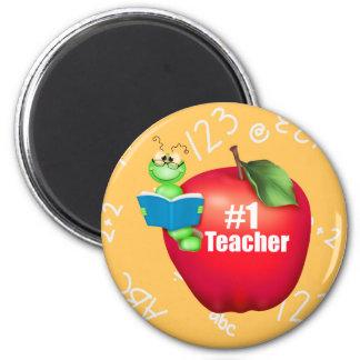 Number One Teacher 6 Cm Round Magnet