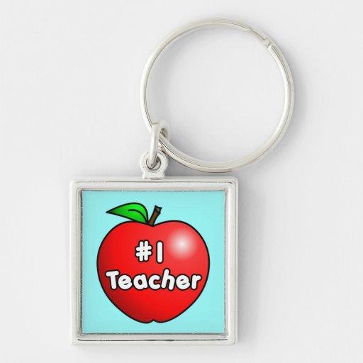 Number One Teacher Apple Key Chains
