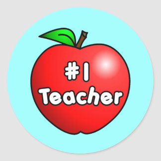 Number One Teacher Apple Round Sticker