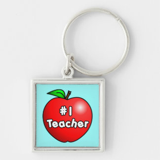 Number One Teacher Apple Silver-Colored Square Key Ring