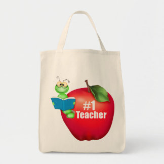 Number One Teacher Canvas Bags