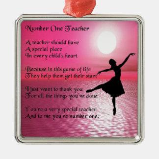 Number One Teacher -  Ballerina Design Christmas Ornament