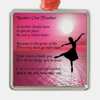 Number One Teacher -  Ballerina Design Silver-Colored Square Decoration