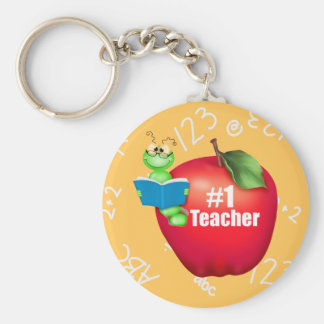 Number One Teacher Basic Round Button Key Ring