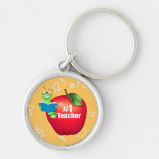Number One Teacher Silver-Colored Round Key Ring