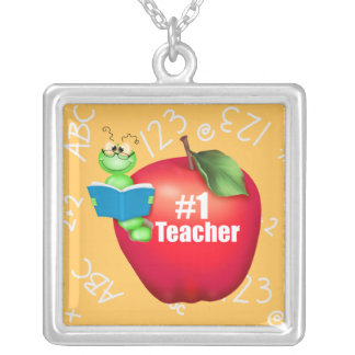 Number One Teacher Square Pendant Necklace