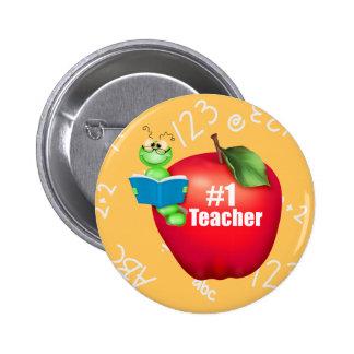 Number One Teacher Pinback Button