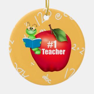 Number One Teacher Round Ceramic Decoration