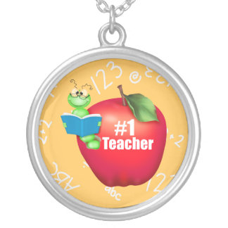 Number One Teacher Round Pendant Necklace