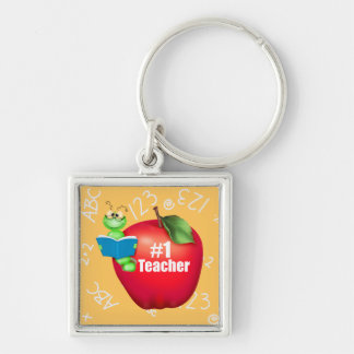 Number One Teacher Silver-Colored Square Key Ring
