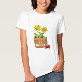 Number One Teacher with Flowers in Pot and Ladybug Tee Shirt
