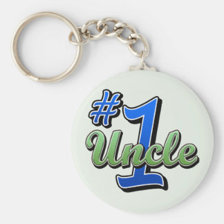 Number One Uncle Basic Round Button Key Ring