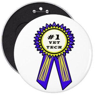 number one vet tech 6 cm round badge