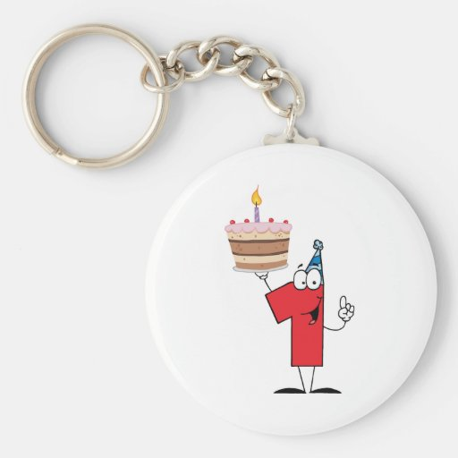 Number One With Birthday Cake And One Candle Lit Keychains