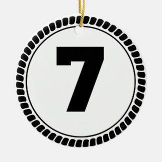 Number Seven Circle Christmas Ornament