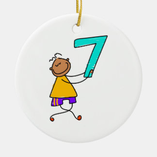 Number Seven Kid Christmas Ornament