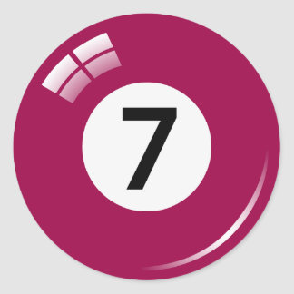 Number seven pool ball stickers/labels classic round sticker