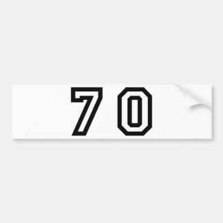 Number Seventy Bumper Sticker