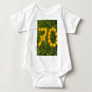 number seventy designed with dandelion on the lawn baby bodysuit