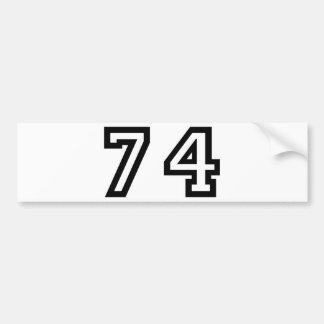 Number Seventy Four Bumper Sticker