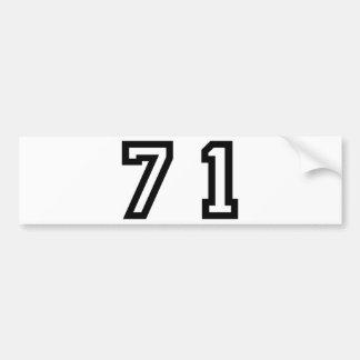 Number Seventy One Bumper Sticker