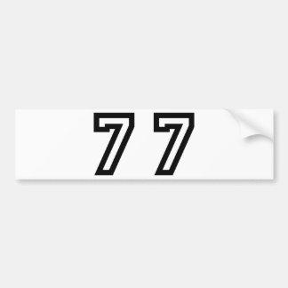 Number Seventy Seven Bumper Sticker