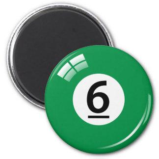 Number six billiard ball fridge magnet