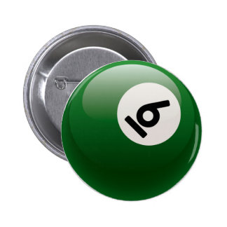 NUMBER SIX BILLIARDS BALL 6 CM ROUND BADGE