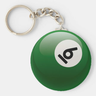 NUMBER SIX BILLIARDS BALL BASIC ROUND BUTTON KEY RING
