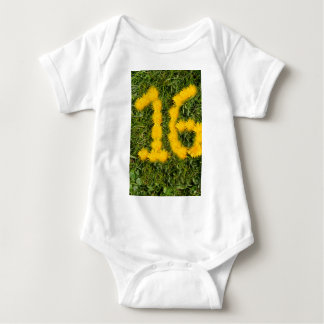 number sixteen drawn with dandelion on the lawn baby bodysuit
