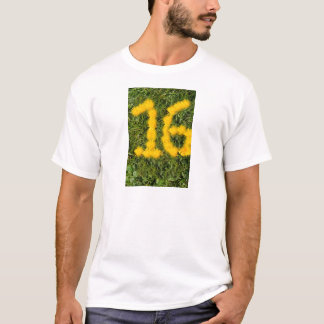 number sixteen drawn with dandelion on the lawn T-Shirt