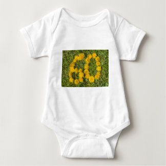 number sixty designed with dandelion on the lawn baby bodysuit